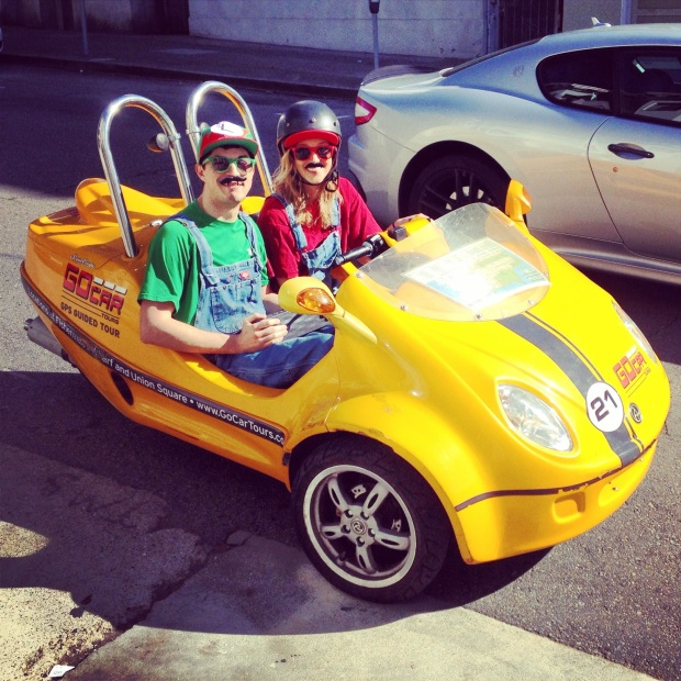 Mario and Luigi in our GoCar