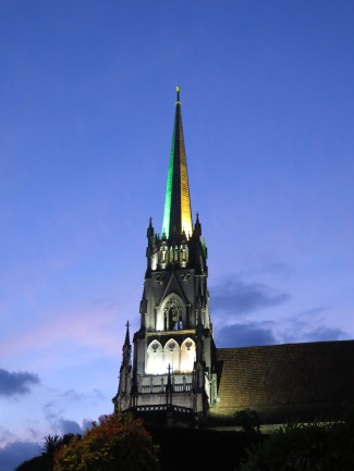 Cathedral lit up with Brazil colors