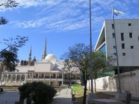 Contrasting architecture at Paseo del Buen Pastor