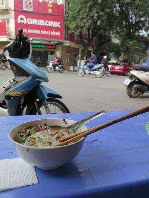 Pho on a street corner