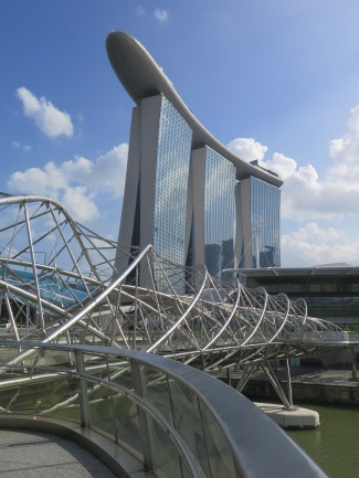 Marina Bay Sands and the Helix pedestrian bridge